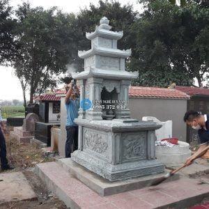 mộ 3 mái đá xanh rêu cao cấp tại hưng yên