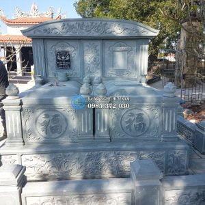 Mẫu mộ đá đôi. mộ đôi đá, mộ đá xanh rêu