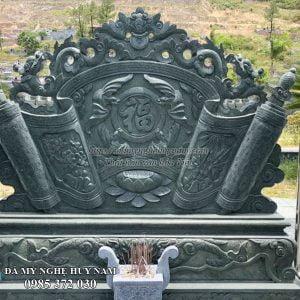 Mẫu cuốn thư đá trán dơi, cuốn thư trán rồng lá đẹp chạm chữ Thọ, cuốn thư đá xanh rêu cho khu lăng mộ, cuon thu da, cuốn thư đá đẹp