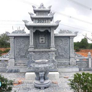 Lăng cánh đá băm bạt vảy rồng cao cấp dài 4,1m, kích thước Lăng thờ chính 1,55m x 1,27m